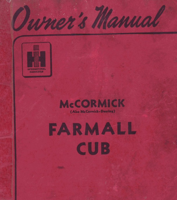 Owner's Manual McCormick Farmall Cub